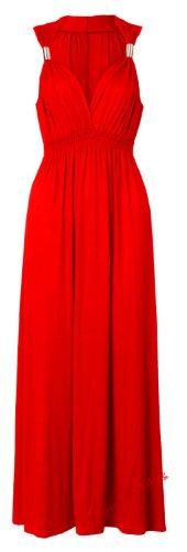 Fast Fashion Damen Spiralfeder Viskose Jersey Dehnbar Sommer Maxi Kleid (One Size (EUR 36-42), Red) (Maxi-kleid Jersey)