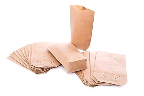 100 braune Kreuzbodenbeutel Geschenktüten Papiertüten Papier-Beutel (16,5 x 26 x 6,6 cm) aus Kraftpapier 1a-QUALITÄT aus Deutschland; als Verpackung, Geschenkpapier für Mitgebsel give-aways Gastgeschenke