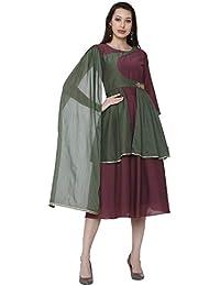 Raisin Maroon & Green Muslin Dress