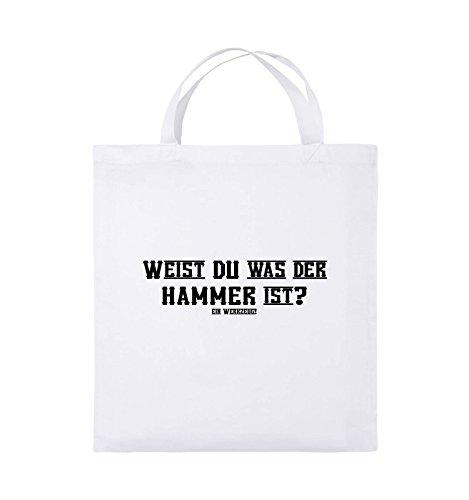 Weiss Schwarz IST kurze Jutebeutel 38x42cm WAS WEIST Farbe Pink Henkel DER Bags HAMMER Schwarz DU Comedy UY6wSqZ6
