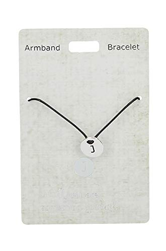 Depesche 4704.23 Armband, Just for You, mit Nylonband, J, Silber bunt