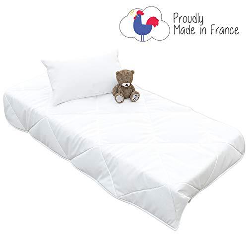 baby bettdecke 100 x 135 cm und Kissen für Baby Bett 70x140 cm - Herstellung in Frankreich - Bettzeug Kinder Ganzjährig - ab 18 Monaten - Zertifiziert Ohne Chemikalien