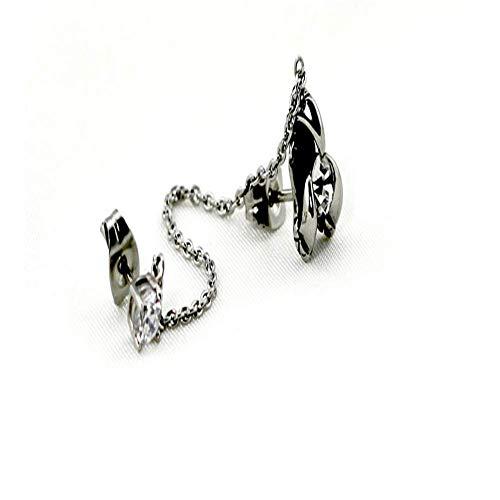 ChuangYing Zwei-Ohr-Loch Verbunden Männer mit Zirkon Ohr Kette Ohr Schnalle männliche und Weibliche Titan Stahl Ohr Nagel Edelstahl-Intarsien Ohrringe