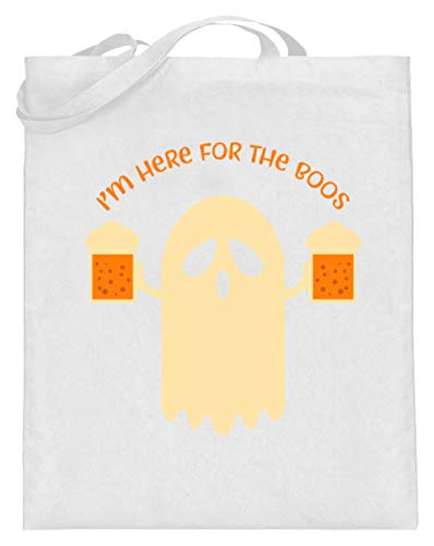 SPIRITSHIRTSHOP I'm Here For The Boos - Mann, Männer, Junge, Jungen, Boy, Boys, Bier, Halloween, Gespenst - Jutebeutel (mit langen Henkeln) -38cm-42cm-Weiß