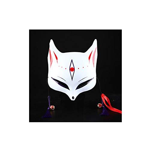(KYX-GAOMOUREN Halloween-Tanz Fuchs Dämon Maske Und Wind Halbe Gesicht Gesicht Katze Gesicht Gesicht Katze Gesichtsmaske Anime Fuchs Cosplay Maske,A)
