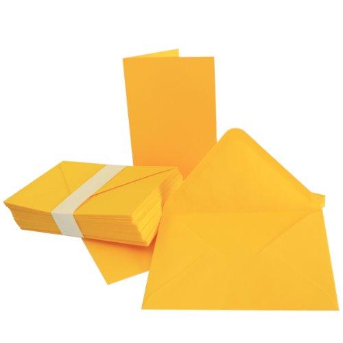 DIN B6 Faltkarten SET mit Umschlägen | Honig-Gelb | 25 Sets | 115 x 170 mm | ideal für Einladungskarten, Hochzeit, Taufe, Kommunion, Konfirmation | formstabil | Marke: FarbenFroh®
