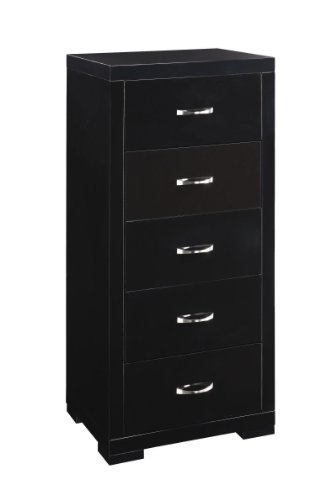 Luna 5 Drawer Narrow Chest in Scratch Resistant High Gloss Black