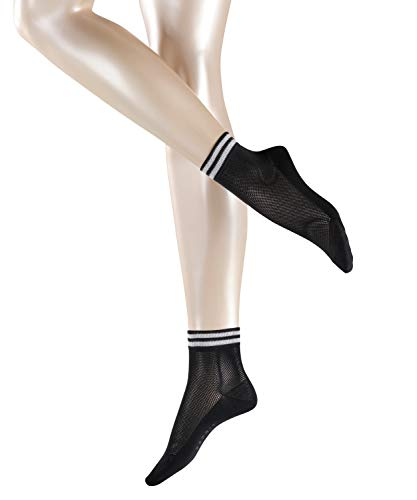 ESPRIT Damen Striped Net W SO Socken, Schwarz (Black 3000), 39-42