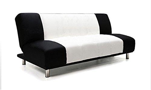 Divano letto 175x77cm tessuto bicolore bianco e nero 3 posti reclinabile design moderno salotto mod.olivia