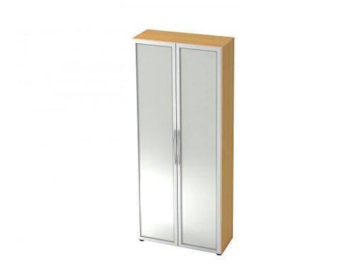 Büro-Schrank-Wandsystem DR-Büro Otara - Glasvitrine in 5 Ordnerhöhen - Maße 80 x 33 x 188 cm - erweiterbar - in 4 Farbvarianten, Farbe Büromöbel:Buche -