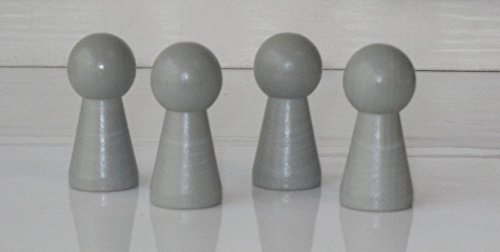 G&S 4 Stück Halmakegel,Spielfigur Groß,Holz (40mm),Grau