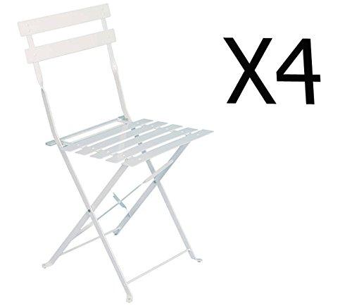 PEGANE Lot de 4 chaises Pliantes en Acier Coloris Blanc - Dim: 42 x 47 x 81 cm