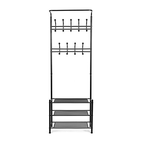 Homfa attaccapanni appendiabiti stand mobile scaffale con for Piani casa ranch con 3 box auto