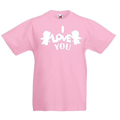 T shirts for kids Cupid angel say I love you quotes (9-11 years Pink White)
