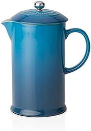 Le Creuset stengods kafé fransk press med kolv i rostfritt stål, 1 liter, serverar 3-4 koppar Marseille Blue