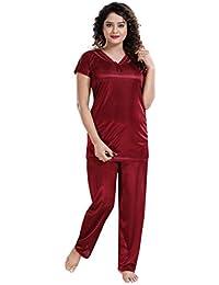 Two Dots Women's Solid Satin Nightsuit/Nightwear Set - Top & Pyjama Set (Free Size)
