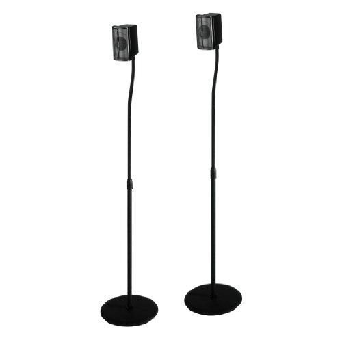 Hama Lautsprecherständer 2er-Set, höhenverstellbar bis 123 cm, je 5 kg belastbar, versteckte Kabelführung, schwarz