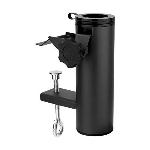 WELLGRO® Schirmhalter für Balkon oder Terrasse - Stahl - schwarz - bis 38 mm (Ø) - einfache & schnelle Montage
