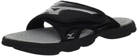 Mizuno Runbird Slide 6 BK-SL Sandal, Black/Silver, 14 M US