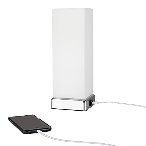 white frosted glass bedside touch table lamp with usb charging port. Black Bedroom Furniture Sets. Home Design Ideas