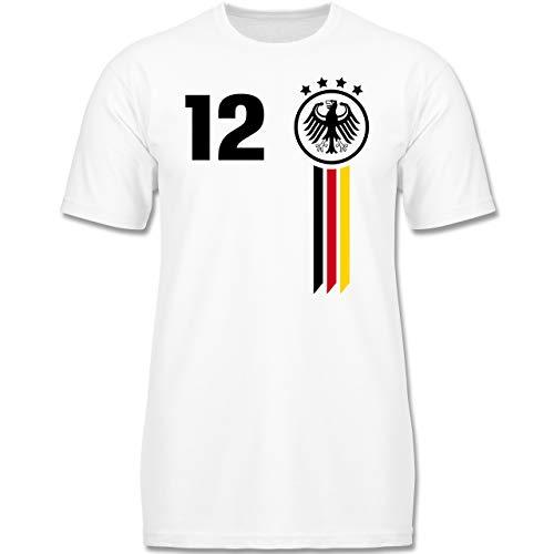 Fußball-Europameisterschaft 2020 Kinder - 12. Mann Deutschland WM - 116 (5/6 Jahre) - Weiß - F130K - Kinder Tshirts und T-Shirt für Jungen