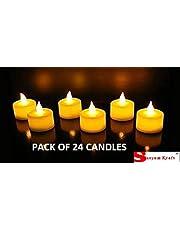 Satyam Kraft Led Tea Light Candle Diya led Candle tealight Candle Flame Less Candle for Diwali Light for Decoration Diwali Decoration Items Yellow (Pack of 24 Led Candle)