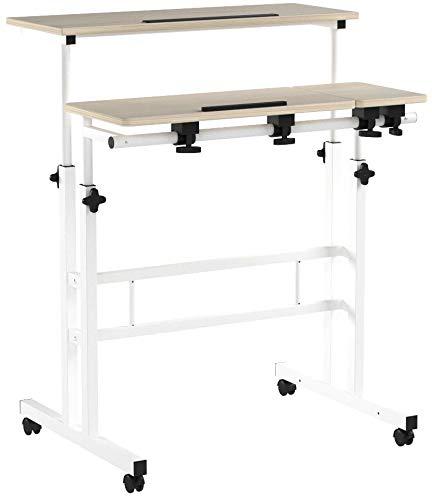 DlandHome Sit-Stand Tischwagen Mobile Höhenverstellbare Sitzfläche zum Stehpult Stehtisch Stehtisch Arbeitsplatz Mobile Schreibtisch, Ahorn