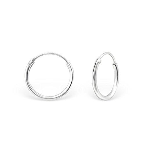 DTPsilver - Damen - Klein Creolen - Ohrringe 925 Sterling Silber - Dicke 1.2 mm - Durchmesser 12 mm