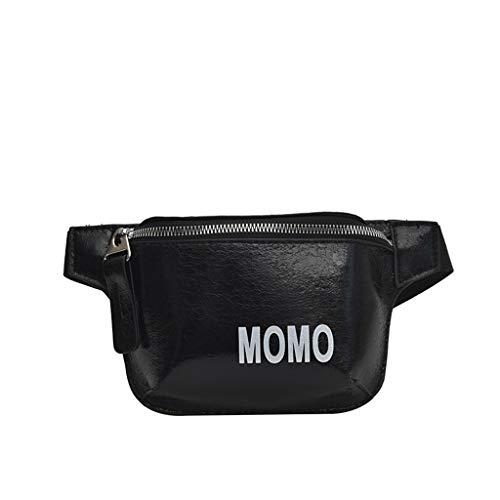 che Damen Brusttaschen Herren Hüfttasche Frauen Wild Messenger Bag Fashion One Shoulder Kleine quadratische Tasche Schwarz ()