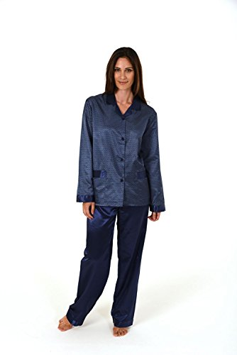 Damen Satin Pyjama lang - innen angeraut 271 201 94 001, Größe:48/50;Farbe:navy (Satin Pyjama Navy)