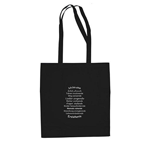 Ich bin eine Erzieherin - Stofftasche / Beutel Schwarz