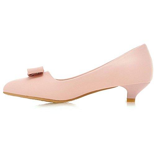 COOLCEPT Damen's Kitten Low Heels Slip on Pumps Sweet Bogen for Skirts Pink