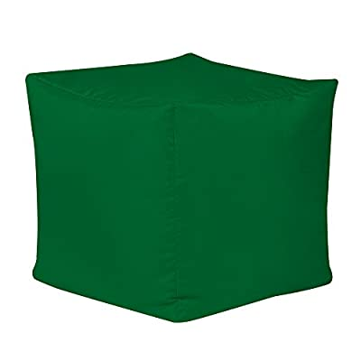 Bean Bag Bazaar 38cm x 38cm, Cube Bean Bag Stool - Indoor and Outdoor Use - Water Resistant, Weather Proof Bean Bags (2, Green)