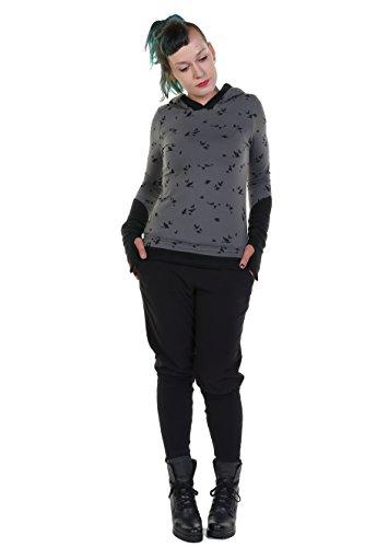 Winterpulli Damen Winter Pullover Gothic Goa Hoodie Frauen mit Fleece Armstulpen und Daumenloch,...