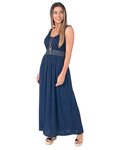 KRISP 7091-BLK-ML, Robe Femme Longue Chic Soirée Bohème, Noir, Medium-Large
