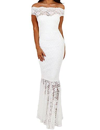 Lrud Frauen Schulterfrei Abendkleid Hochzeitskleid Bardot Spitzenkleid Meerjungfrau Bodycon Lang...