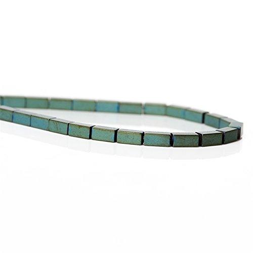 Naturel Vert givré rectangle Perles hématite pour DIY Bijoux Apprêt, Green