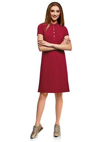 oodji Collection Damen Pique-Polo-Kleid, Rot, DE 40 / EU 42 / L