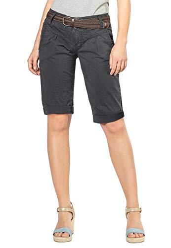 Fresh Made Sommer-Hose Bermuda-Shorts für Frauen | Kurze Chino-Hose mit Flecht-Gürtel | Basic Shorts aus Baum-Wolle Dark-Grey L -