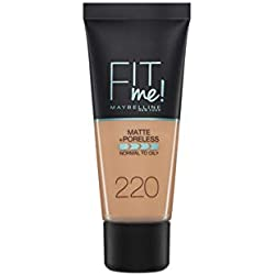 Maybelline New York Base de Maquillaje Fit Me (Mate y Sin poros), Tono 220 Natural Beige - 30 ml