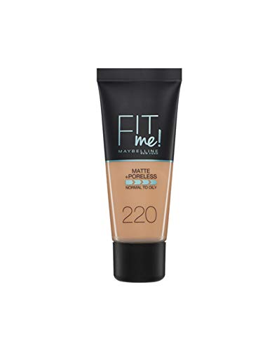 Maybelline Base de Maquillaje Fit Me (Mate y Sin poros), Tono 220 Natural Beige - 30 ml
