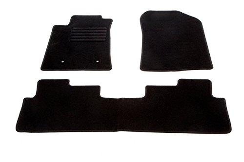 Auto Fußmatten Velours Set 3-teilig passgenau, schwarz (2004 Toyota Corolla Fußmatten)