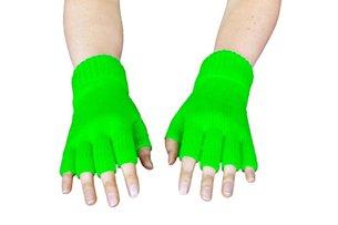 Strick-Handschuhe, fingerlos, Neon-Grün