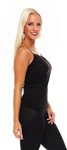 2er Pack Damen Unterwäsche mit Spitze (Unterhemd, Träger-Top, Shirt) Nr. 421 ( Schwarz-Rot / 44/46 ) - 4