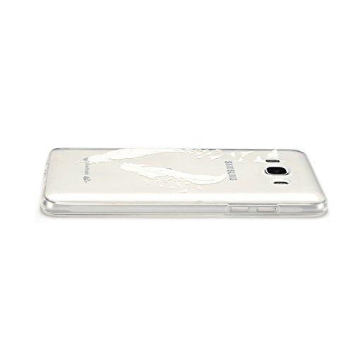 iphone 7 Plus iphone 8 Plus Hülle, E-lush Transparent Ultra Weich Dünn TPU Silikon Schutzhülle Case Handyhülle für iphone 7 Plus/iphone 8 Plus(5,5 Zoll), Schwarz Mädchen Löwenzahn Muster Design Handyc Weiße Federn