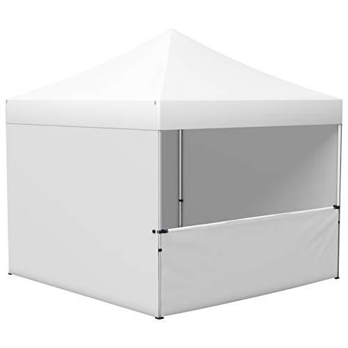 Vispronet® Faltpavillon Eco 3x3 m ✓ 4 Zeltwände (3 Vollwände, 1 Halbhohe Wand) ✓ Scherengittersystem ✓ inkl. Dach mit Volant (Weiß)