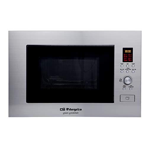 Orbegozo MIG 2330 - Microondas con grill integrable full INOX, 23 litros, 6 niveles de potencia, 8 menús...
