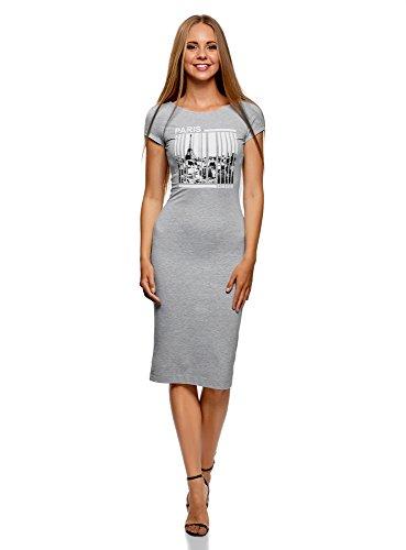 oodji Collection Damen Midi-Kleid mit Tiefem Ausschnitt am Rücken, Grau, DE 36 / EU 38 / S