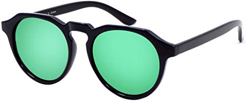 La Optica B.L.M. UV400 CAT 3 Unisex Damen Herren Sonnenbrille Rund Modern - Einzelpack Glänzend Schwarz (Gläser: Grün verspiegelt)