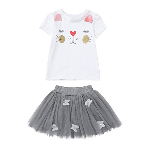 WUSIKY Baby Mädchen Kleid, Kleinkind Baby Mädchen Kind Cartoon Kaninchen Bunny Tops T Shirt + Spitzenrock Outfits Set Minikleid Elegante Lässige Mode Tutu Rock 2019 Neue Mädchen Kleidung(140,Grau)